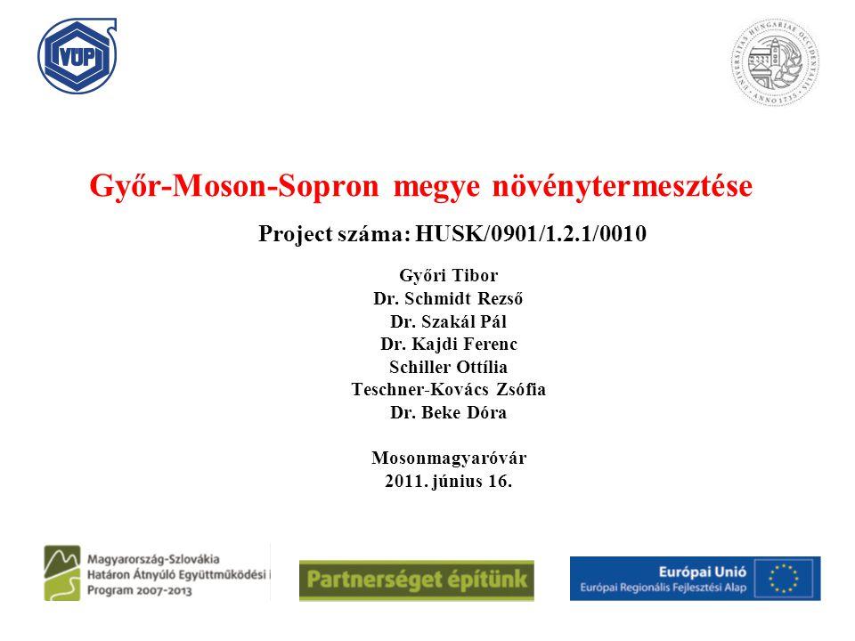 Győr-Moson-Sopron megye növénytermesztése Győri Tibor Dr. Schmidt Rezső Dr. Szakál Pál Dr. Kajdi Ferenc Schiller Ottília Teschner-Kovács Zsófia Dr. Be