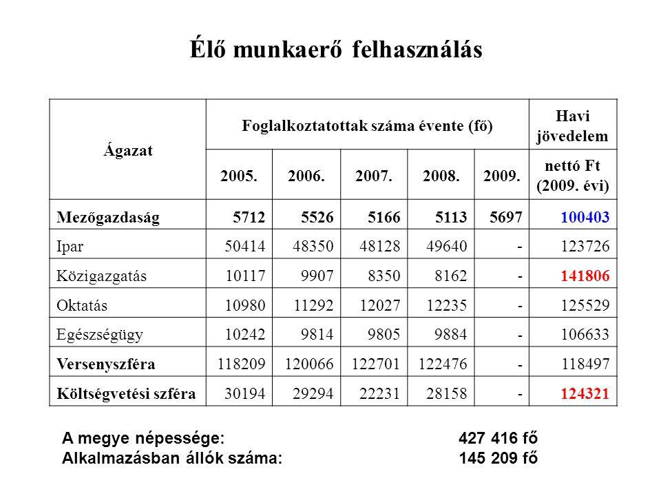 Élő munkaerő felhasználás Ágazat Foglalkoztatottak száma évente (fő) Havi jövedelem 2005.2006.2007.2008.2009. nettó Ft (2009. évi) Mezőgazdaság5712552