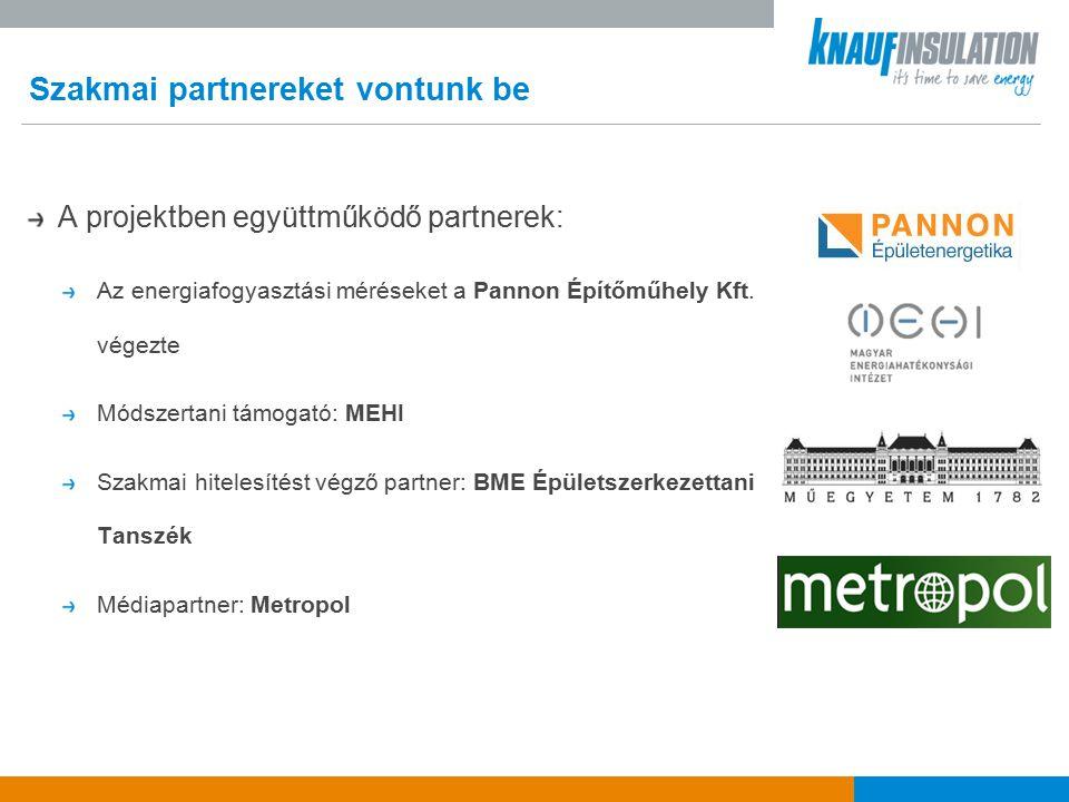 Szakmai partnereket vontunk be A projektben együttműködő partnerek: Az energiafogyasztási méréseket a Pannon Építőműhely Kft.