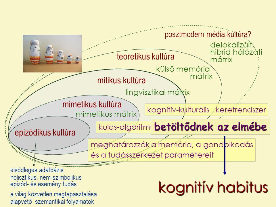 kulturális evolúció kognitív habitus kognitív erőforrások kulturális ökológiai fülke az a fizikai, biológiai és kulturális adottság- rendszer, amely sajátos kulturális ökológiai fülkeként a gyerekek fejlődésének és a felnőttek életvezetésének hátterét jelenti: a környezetet, amelyben, amelytől, és amelyen keresztül a tágabb értelemben vett tanulás, információszerzés történik.