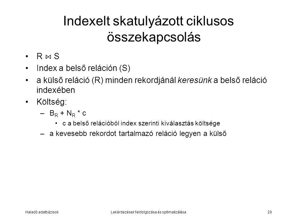 Haladó adatbázisokLekérdezések feldolgozása és optimalizálása29 Indexelt skatulyázott ciklusos összekapcsolás R ⋈ S Index a belső reláción (S) a külső reláció (R) minden rekordjánál keresünk a belső reláció indexében Költség: –B R + N R * c c a belső relációból index szerinti kiválasztás költsége –a kevesebb rekordot tartalmazó reláció legyen a külső