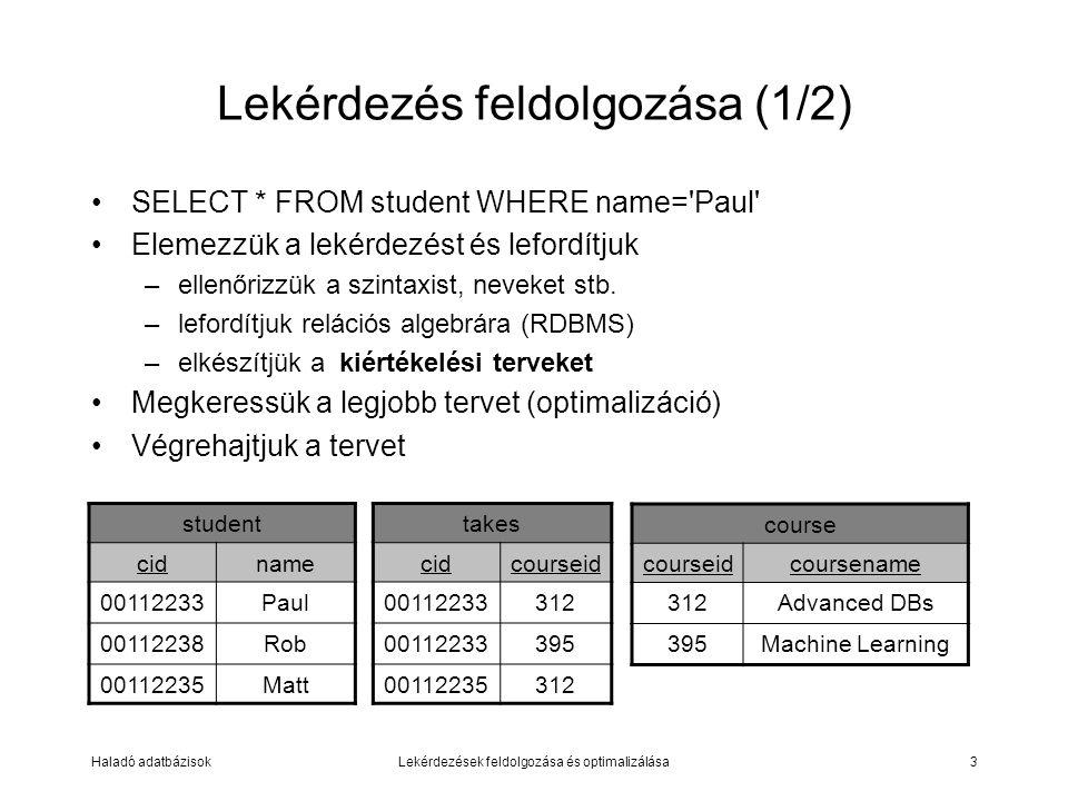 Haladó adatbázisokLekérdezések feldolgozása és optimalizálása3 Lekérdezés feldolgozása (1/2) SELECT * FROM student WHERE name= Paul Elemezzük a lekérdezést és lefordítjuk –ellenőrizzük a szintaxist, neveket stb.