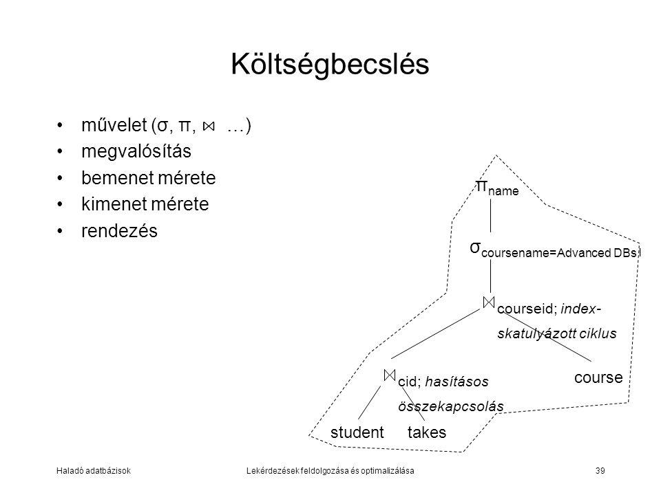 Haladó adatbázisokLekérdezések feldolgozása és optimalizálása39 Költségbecslés művelet (σ, π, ⋈ …) megvalósítás bemenet mérete kimenet mérete rendezés σ coursename=Advanced DBs l studenttakes cid; hasításos összekapcsolás courseid; index- skatulyázott ciklus course π name