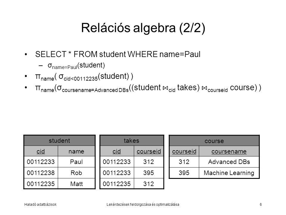 Haladó adatbázisokLekérdezések feldolgozása és optimalizálása6 Relációs algebra (2/2) SELECT * FROM student WHERE name=Paul –σ name=Paul (student) π name ( σ cid<00112235 (student) ) π name (σ coursename=Advanced DBs ((student ⋈ cid takes) ⋈ courseid course) ) student cidname 00112233Paul 00112238Rob 00112235Matt takes cidcourseid 00112233312 00112233395 00112235312 course courseidcoursename 312Advanced DBs 395Machine Learning