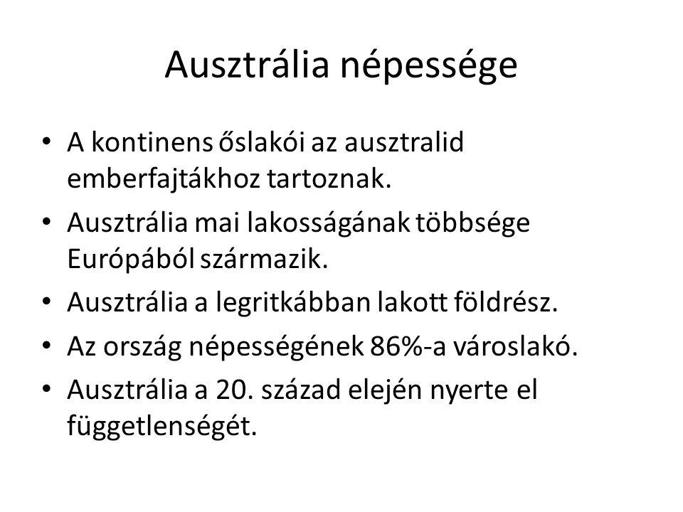 Ausztrália népessége A kontinens őslakói az ausztralid emberfajtákhoz tartoznak. Ausztrália mai lakosságának többsége Európából származik. Ausztrália