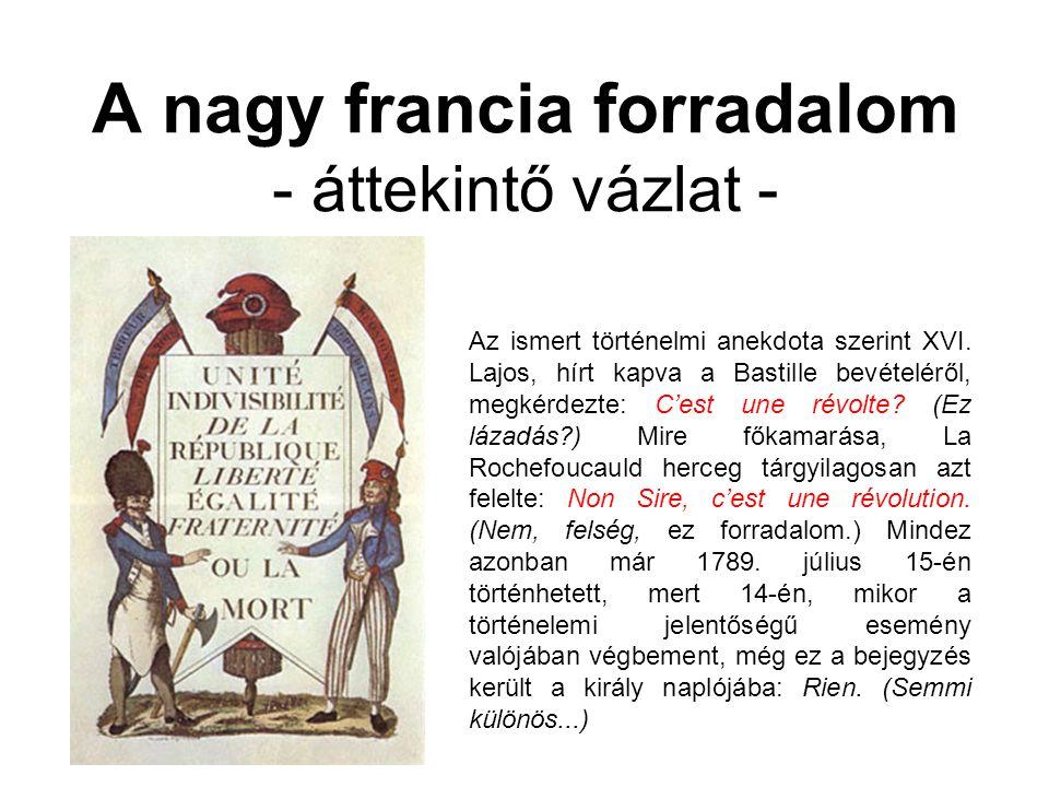 A nagy francia forradalom - áttekintő vázlat - Az ismert történelmi anekdota szerint XVI.