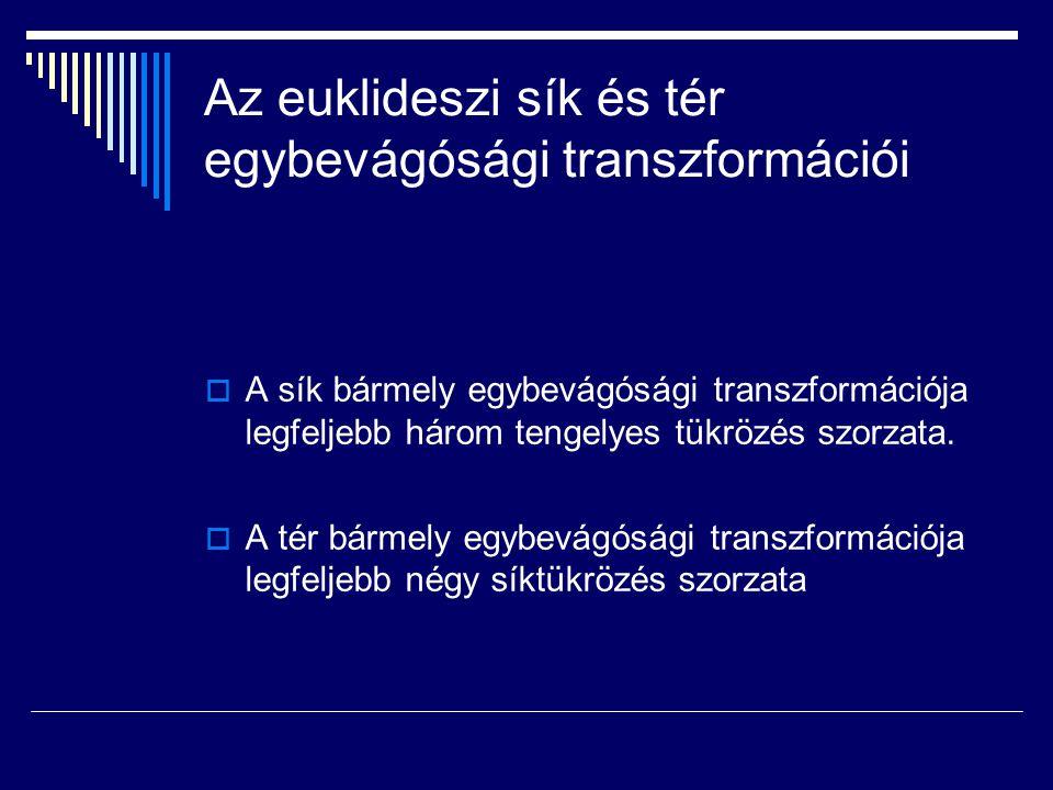 Az euklideszi sík és tér egybevágósági transzformációi  A sík bármely egybevágósági transzformációja legfeljebb három tengelyes tükrözés szorzata.