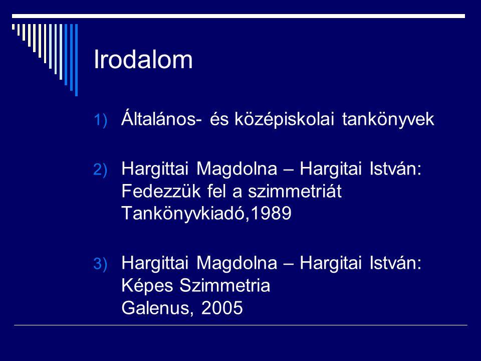 Irodalom 1) Általános- és középiskolai tankönyvek 2) Hargittai Magdolna – Hargitai István: Fedezzük fel a szimmetriát Tankönyvkiadó,1989 3) Hargittai