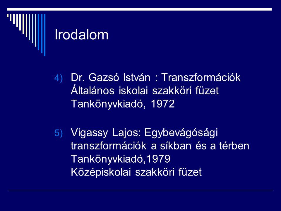 Irodalom 4) Dr. Gazsó István : Transzformációk Általános iskolai szakköri füzet Tankönyvkiadó, 1972 5) Vigassy Lajos: Egybevágósági transzformációk a