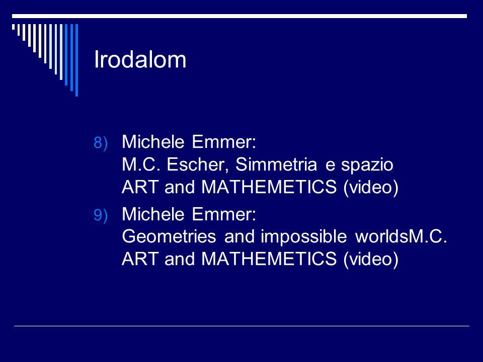 Irodalom 8) Michele Emmer: M.C. Escher, Simmetria e spazio ART and MATHEMETICS (video) 9) Michele Emmer: Geometries and impossible worldsM.C. ART and