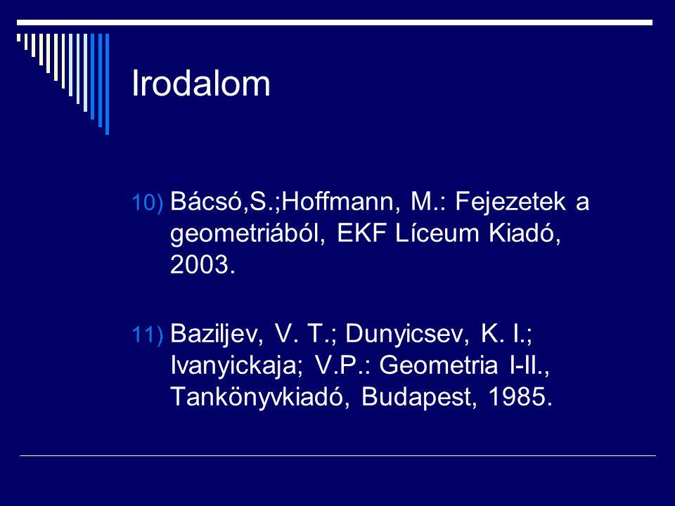 Irodalom 10) Bácsó,S.;Hoffmann, M.: Fejezetek a geometriából, EKF Líceum Kiadó, 2003. 11) Baziljev, V. T.; Dunyicsev, K. I.; Ivanyickaja; V.P.: Geomet