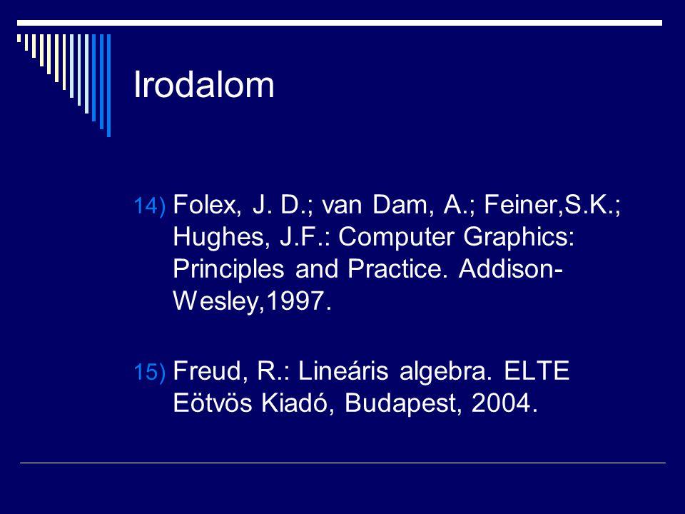 Irodalom 14) Folex, J. D.; van Dam, A.; Feiner,S.K.; Hughes, J.F.: Computer Graphics: Principles and Practice. Addison- Wesley,1997. 15) Freud, R.: Li