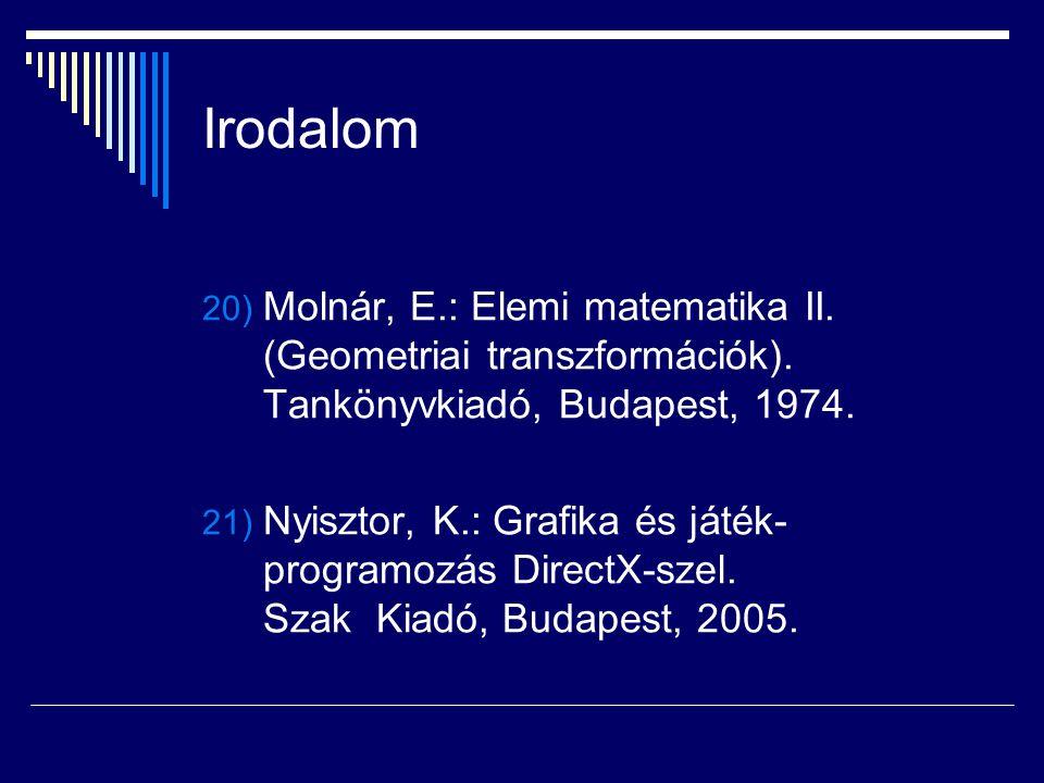 Irodalom 20) Molnár, E.: Elemi matematika II. (Geometriai transzformációk). Tankönyvkiadó, Budapest, 1974. 21) Nyisztor, K.: Grafika és játék- program