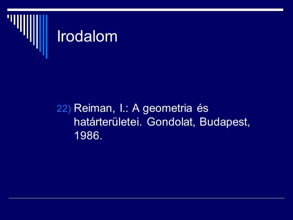 Irodalom 22) Reiman, I.: A geometria és határterületei. Gondolat, Budapest, 1986.