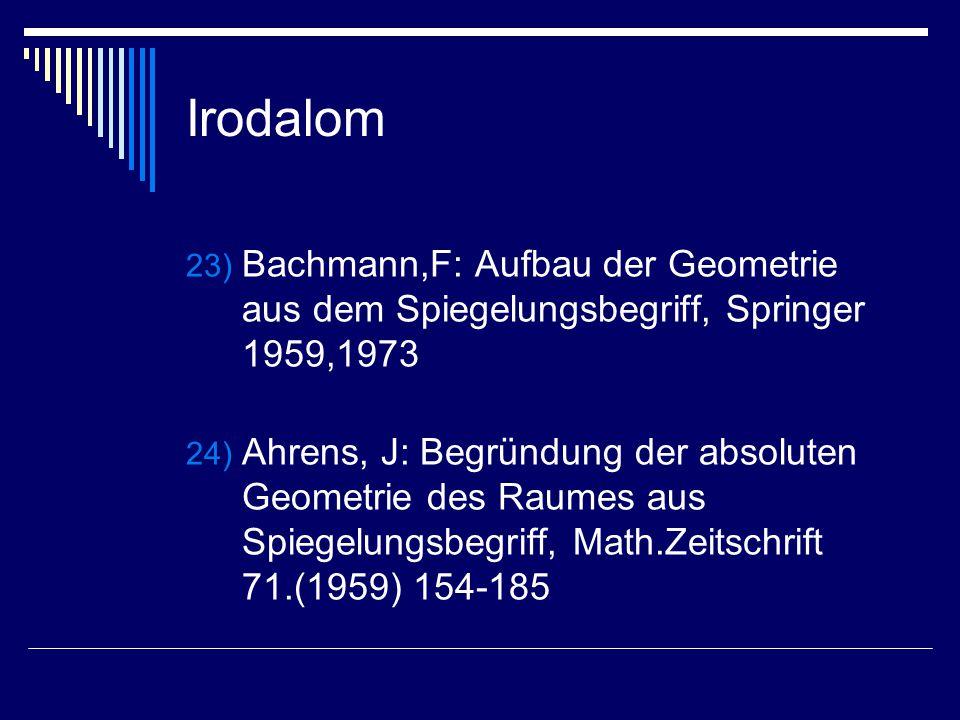 Irodalom 23) Bachmann,F: Aufbau der Geometrie aus dem Spiegelungsbegriff, Springer 1959,1973 24) Ahrens, J: Begründung der absoluten Geometrie des Rau