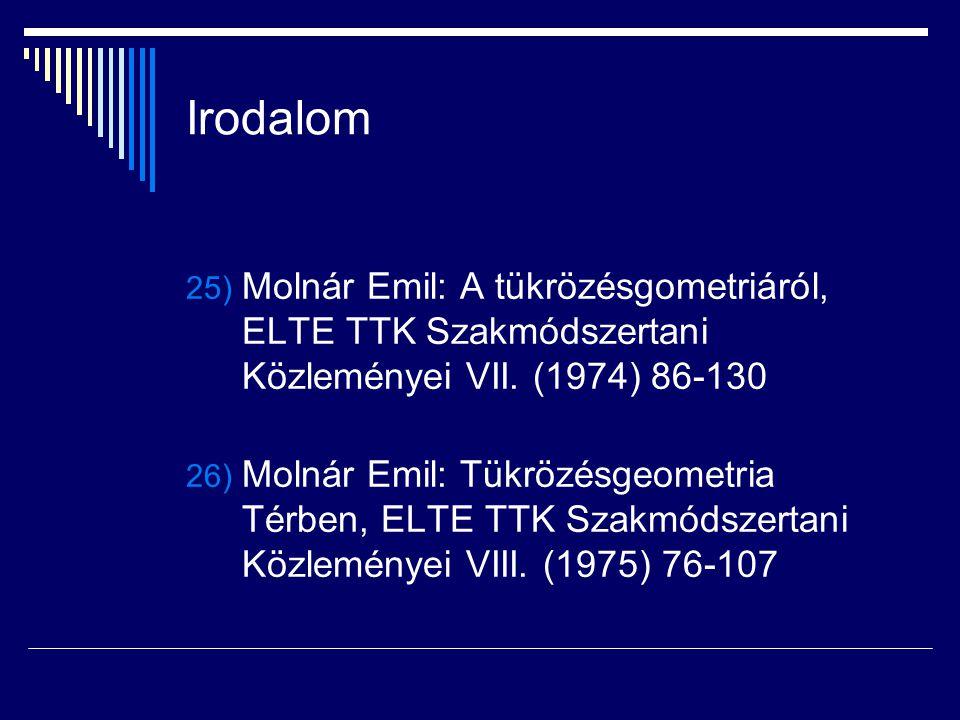 Irodalom 25) Molnár Emil: A tükrözésgometriáról, ELTE TTK Szakmódszertani Közleményei VII. (1974) 86-130 26) Molnár Emil: Tükrözésgeometria Térben, EL