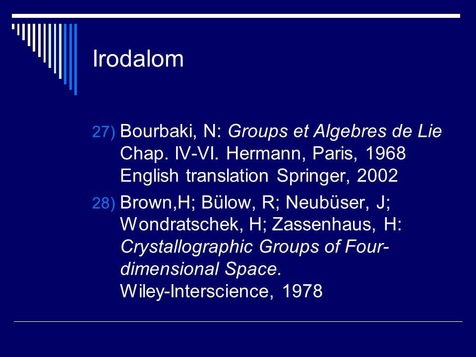 Irodalom 27) Bourbaki, N: Groups et Algebres de Lie Chap. IV-VI. Hermann, Paris, 1968 English translation Springer, 2002 28) Brown,H; Bülow, R; Neubüs