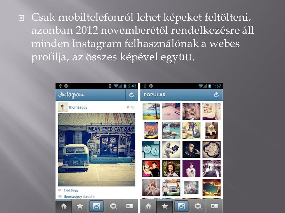  Csak mobiltelefonról lehet képeket feltölteni, azonban 2012 novemberétől rendelkezésre áll minden Instagram felhasználónak a webes profilja, az össz