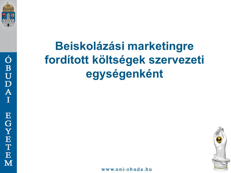 Beiskolázási marketingre fordított költségek szervezeti egységenként