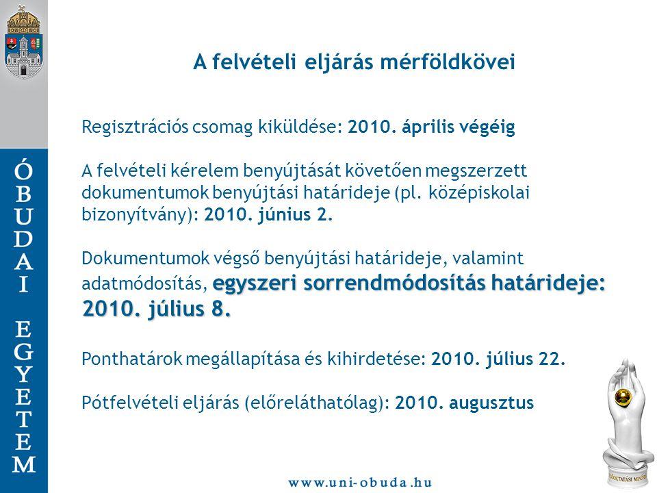 A felvételi eljárás mérföldkövei Regisztrációs csomag kiküldése: 2010.