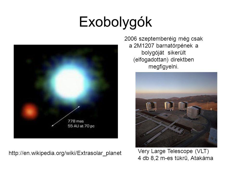 Exobolygók http://en.wikipedia.org/wiki/Extrasolar_planet 2006 szeptemberéig még csak a 2M1207 barnatörpének a bolygóját sikerült (elfogadottan) direk