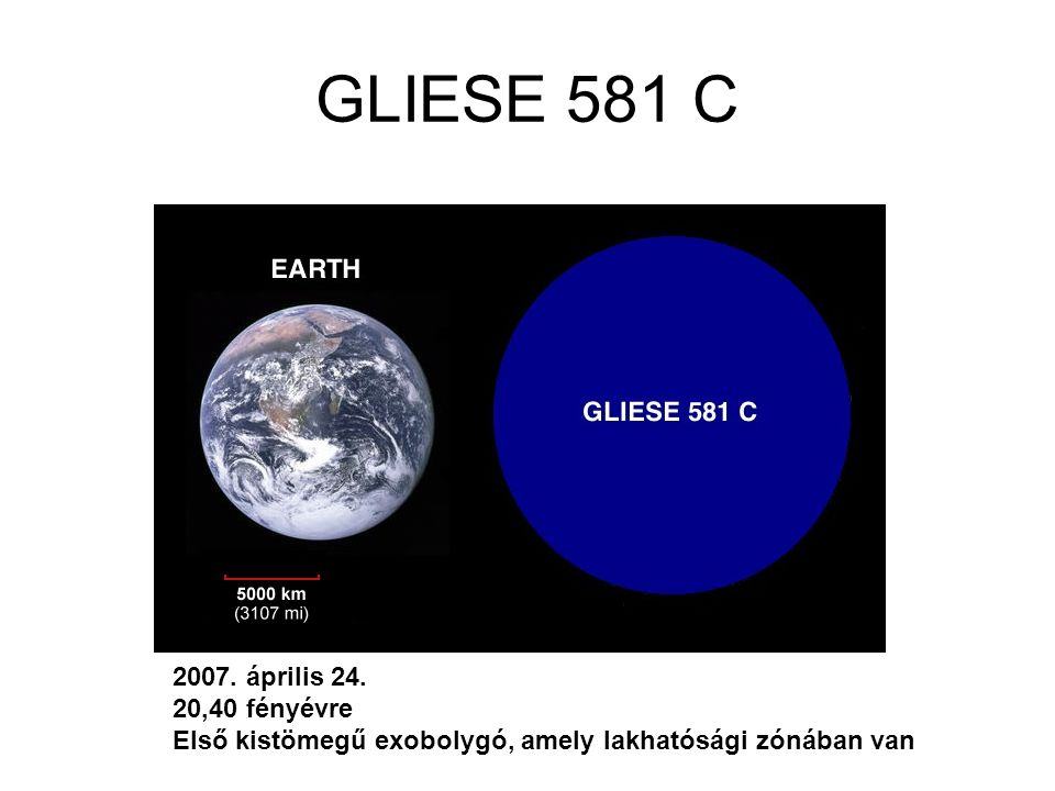 GLIESE 581 C 2007. április 24. 20,40 fényévre Első kistömegű exobolygó, amely lakhatósági zónában van