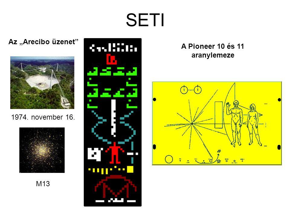 """Az """"Arecibo üzenet"""" A Pioneer 10 és 11 aranylemeze 1974. november 16. M13"""