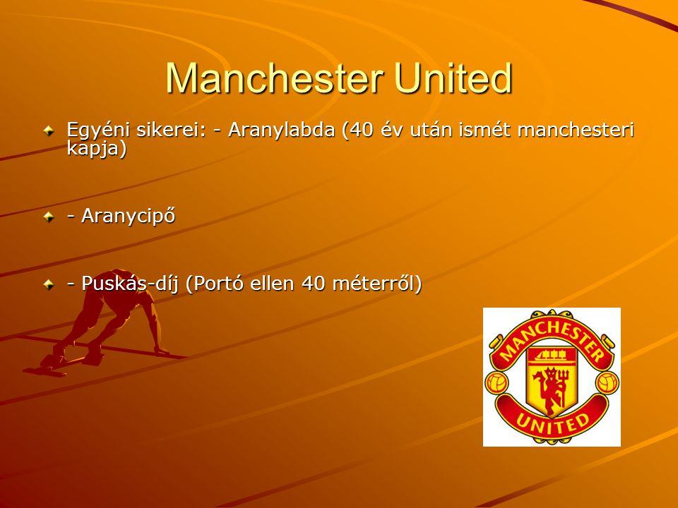 Manchester United Egyéni sikerei: - Aranylabda (40 év után ismét manchesteri kapja) - Aranycipő - Puskás-díj (Portó ellen 40 méterről)