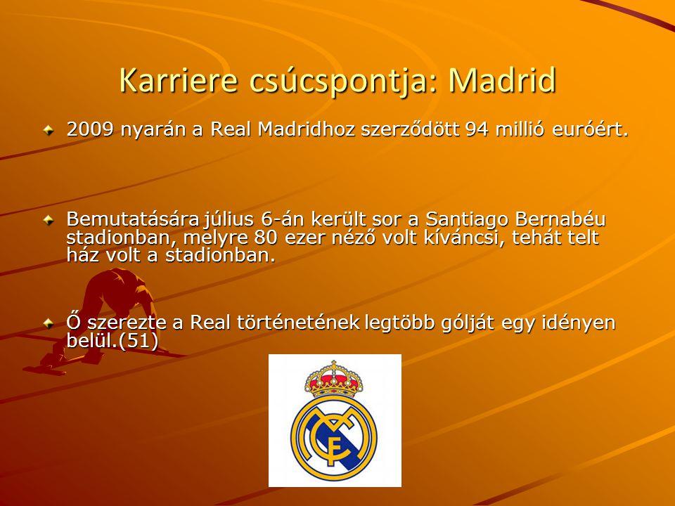 Karriere csúcspontja: Madrid 2009 nyarán a Real Madridhoz szerződött 94 millió euróért.
