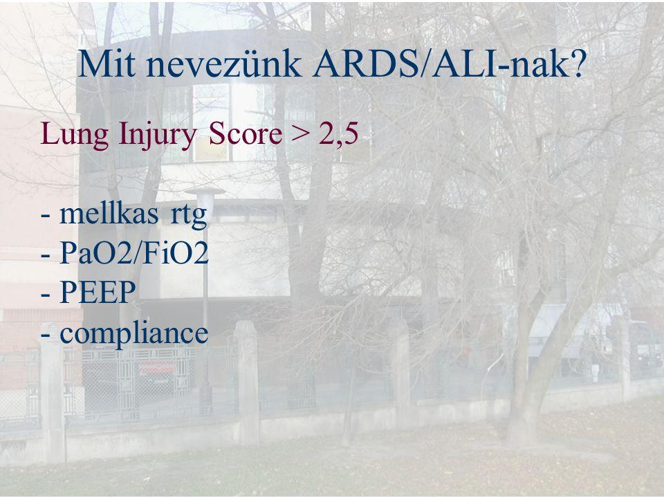 Mit nevezünk ARDS/ALI-nak? Lung Injury Score > 2,5 - mellkas rtg - PaO2/FiO2 - PEEP - compliance