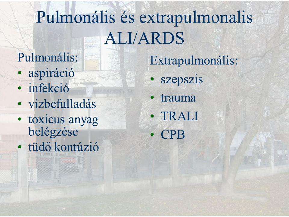 Pulmonális és extrapulmonalis ALI/ARDS Pulmonális: aspiráció infekció vízbefulladás toxicus anyag belégzése tüdő kontúzió Extrapulmonális: szepszis tr