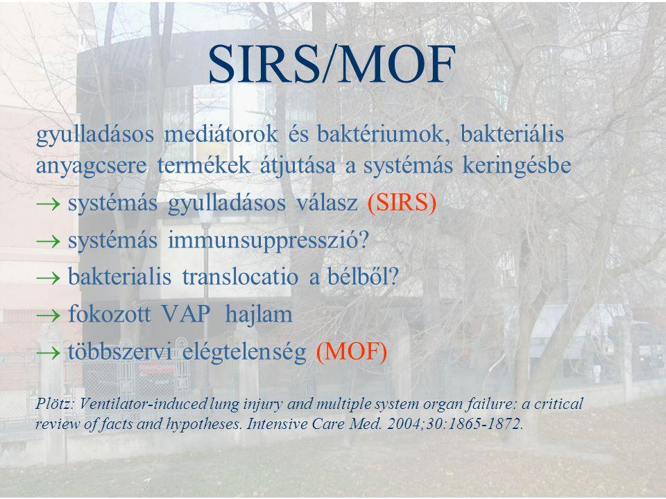 SIRS/MOF gyulladásos mediátorok és baktériumok, bakteriális anyagcsere termékek átjutása a systémás keringésbe  systémás gyulladásos válasz (SIRS) 