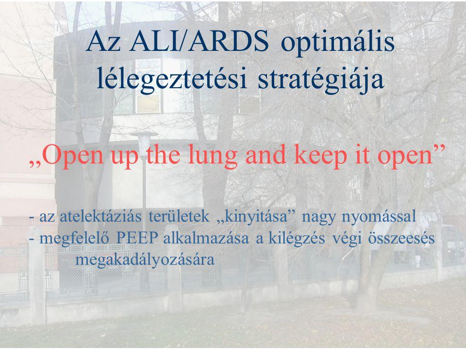 """Az ALI/ARDS optimális lélegeztetési stratégiája """"Open up the lung and keep it open"""" - az atelektáziás területek """"kinyitása"""" nagy nyomással - megfelelő"""