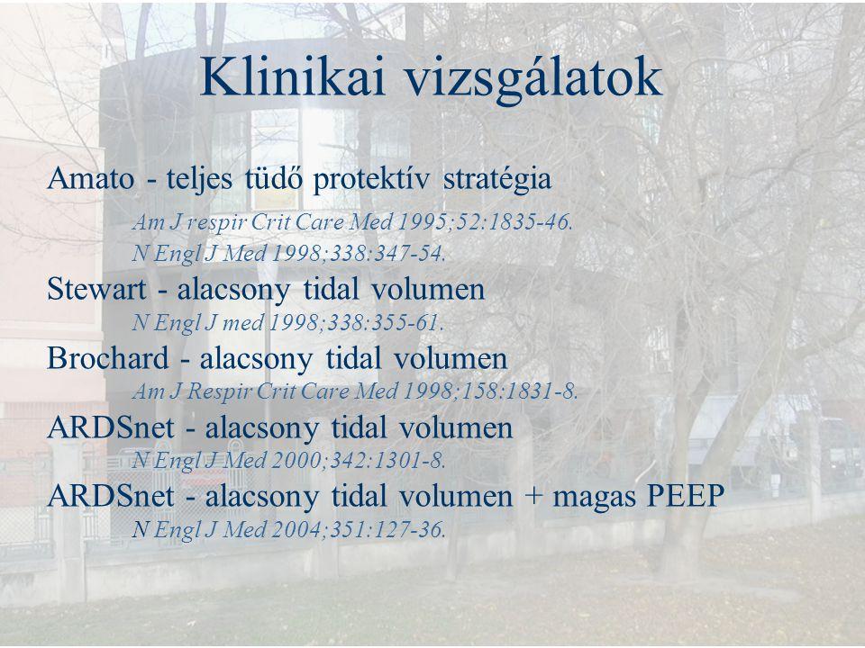 Klinikai vizsgálatok Amato - teljes tüdő protektív stratégia Am J respir Crit Care Med 1995;52:1835-46. N Engl J Med 1998;338:347-54. Stewart - alacso