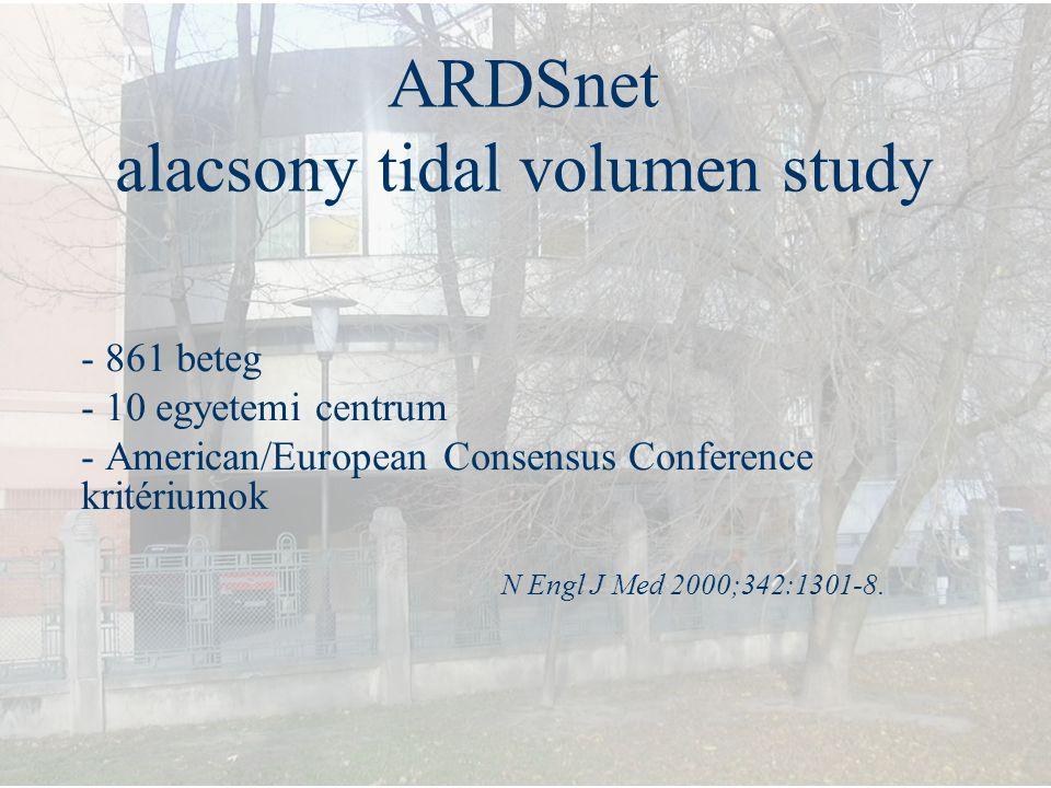 ARDSnet alacsony tidal volumen study - 861 beteg - 10 egyetemi centrum - American/European Consensus Conference kritériumok N Engl J Med 2000;342:1301