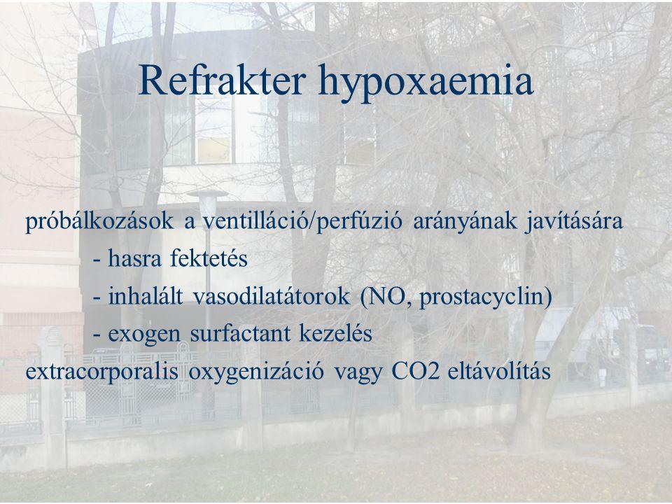 Refrakter hypoxaemia próbálkozások a ventilláció/perfúzió arányának javítására - hasra fektetés - inhalált vasodilatátorok (NO, prostacyclin) - exogen
