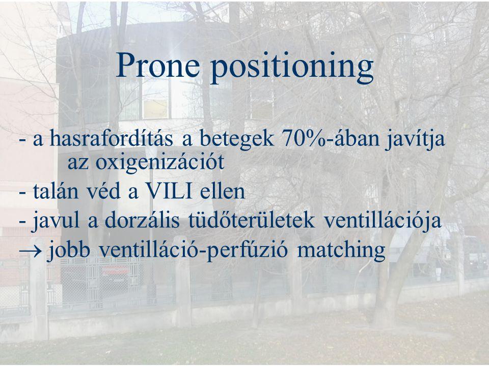 Prone positioning - a hasrafordítás a betegek 70%-ában javítja az oxigenizációt - talán véd a VILI ellen - javul a dorzális tüdőterületek ventillációj