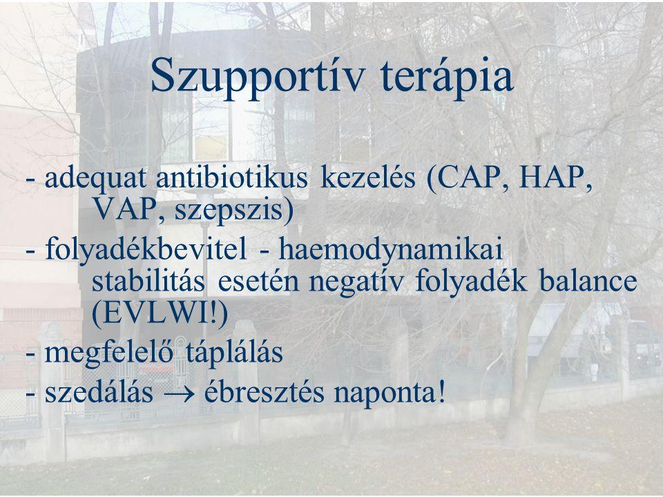 Szupportív terápia - adequat antibiotikus kezelés (CAP, HAP, VAP, szepszis) - folyadékbevitel - haemodynamikai stabilitás esetén negatív folyadék bala