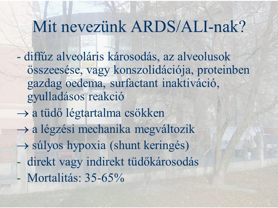 Mit nevezünk ARDS/ALI-nak? - diffúz alveoláris károsodás, az alveolusok összeesése, vagy konszolidációja, proteinben gazdag oedema, surfactant inaktiv