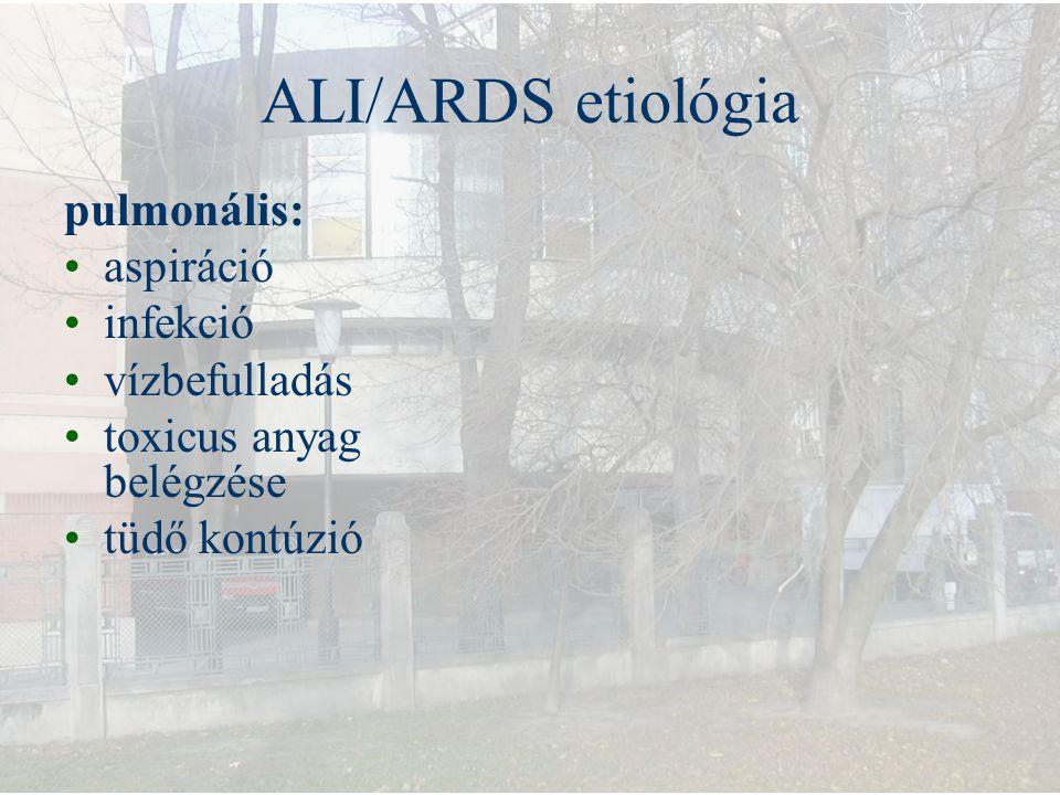 ALI/ARDS etiológia pulmonális: aspiráció infekció vízbefulladás toxicus anyag belégzése tüdő kontúzió