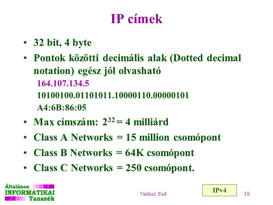 Vadász Ea8 19 IP címek 32 bit, 4 byte Pontok közötti decimális alak (Dotted decimal notation) egész jól olvasható 164.107.134.5 10100100.01101011.1000