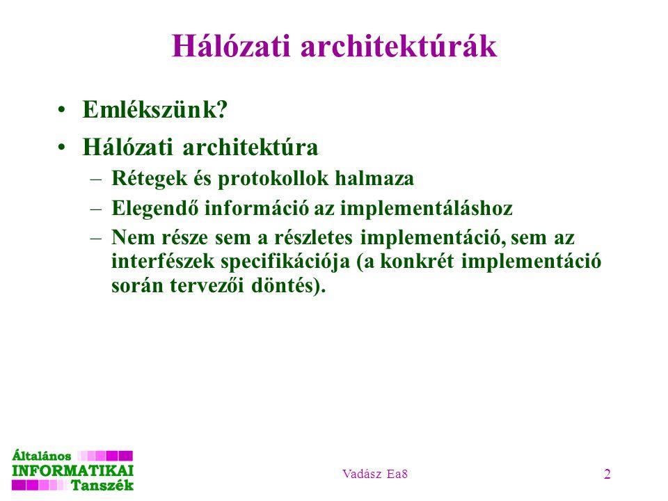Vadász Ea8 2 Hálózati architektúrák Emlékszünk? Hálózati architektúra –Rétegek és protokollok halmaza –Elegendő információ az implementáláshoz –Nem ré