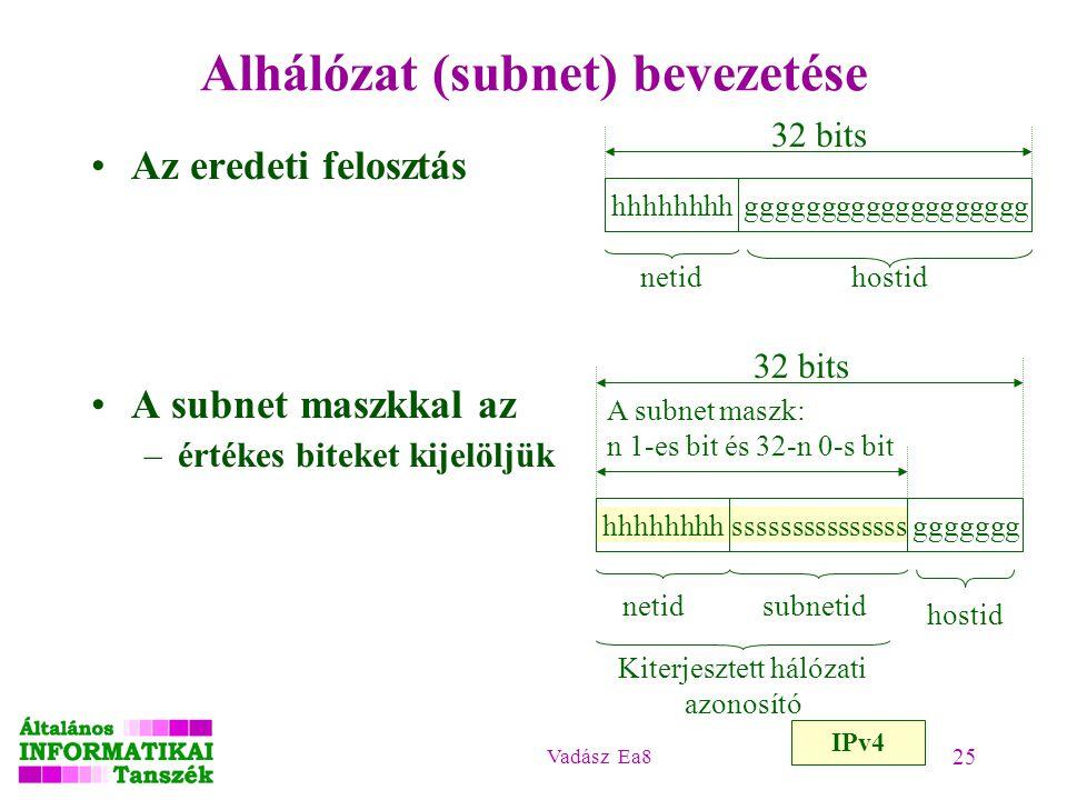 Vadász Ea8 25 Alhálózat (subnet) bevezetése Az eredeti felosztás A subnet maszkkal az –értékes biteket kijelöljük hhhhhhhhggggggggggggggggggg 32 bits