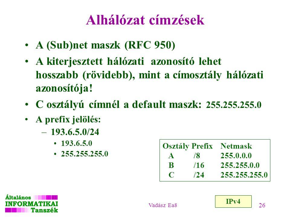 Vadász Ea8 26 Alhálózat címzések A (Sub)net maszk (RFC 950) A kiterjesztett hálózati azonosító lehet hosszabb (rövidebb), mint a címosztály hálózati a