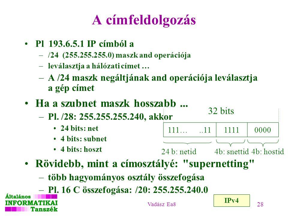 Vadász Ea8 28 A címfeldolgozás Pl 193.6.5.1 IP címból a –/24 (255.255.255.0) maszk and operációja –leválasztja a hálózati címet … –A /24 maszk negáltj