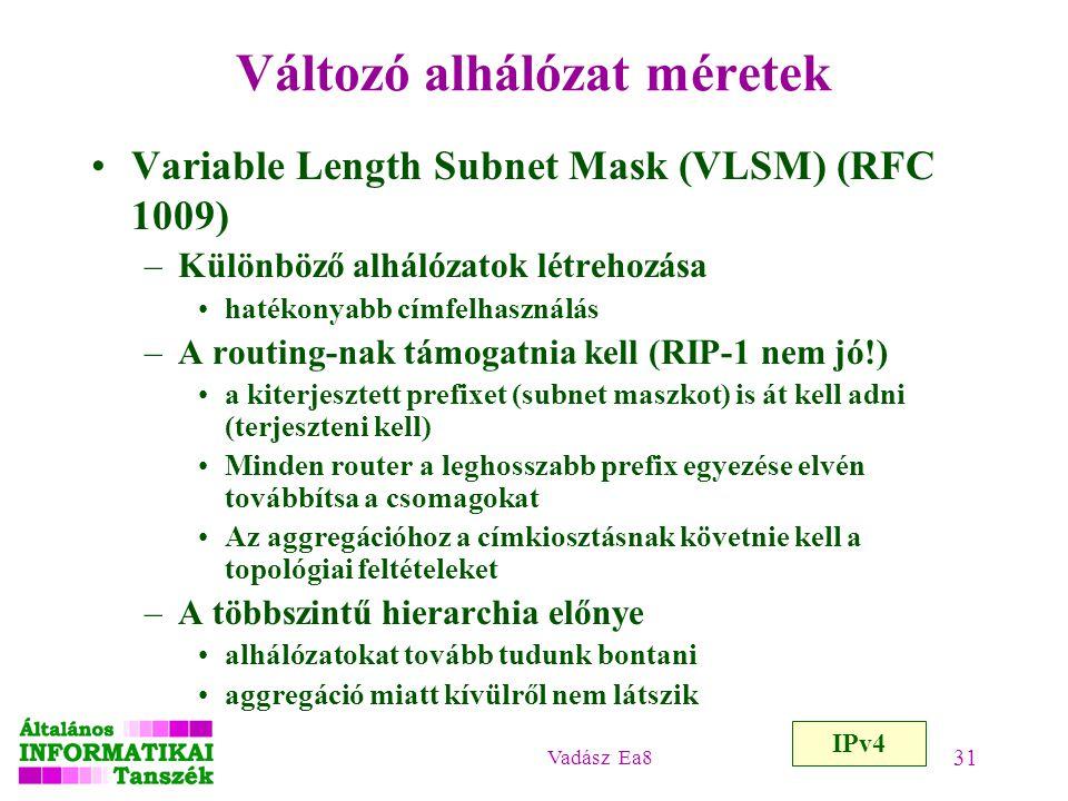 Vadász Ea8 31 Változó alhálózat méretek Variable Length Subnet Mask (VLSM) (RFC 1009) –Különböző alhálózatok létrehozása hatékonyabb címfelhasználás –