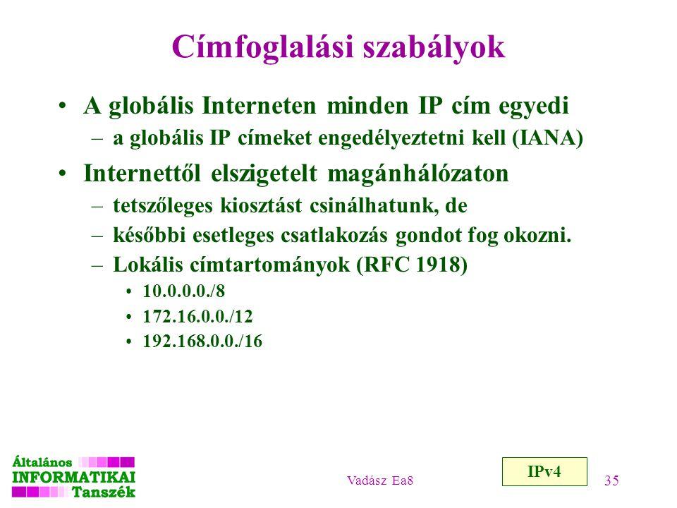 Vadász Ea8 35 Címfoglalási szabályok A globális Interneten minden IP cím egyedi –a globális IP címeket engedélyeztetni kell (IANA) Internettől elszige
