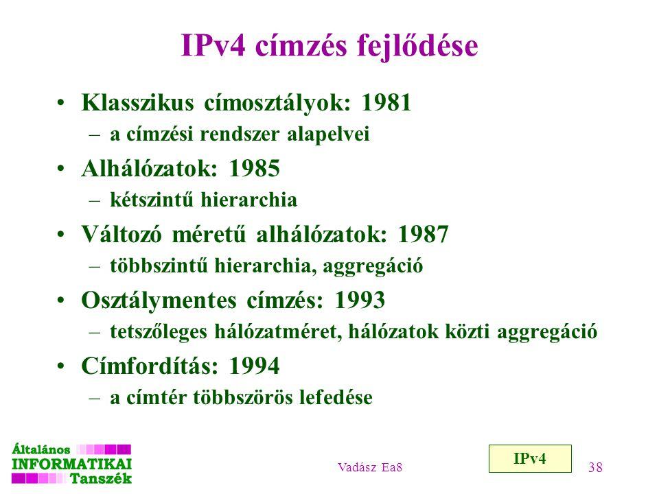 Vadász Ea8 38 IPv4 címzés fejlődése Klasszikus címosztályok: 1981 –a címzési rendszer alapelvei Alhálózatok: 1985 –kétszintű hierarchia Változó méretű