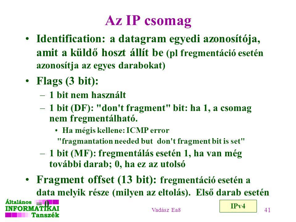 Vadász Ea8 41 Az IP csomag IPv4 Identification: a datagram egyedi azonosítója, amit a küldő hoszt állít be (pl fregmentáció esetén azonosítja az egyes