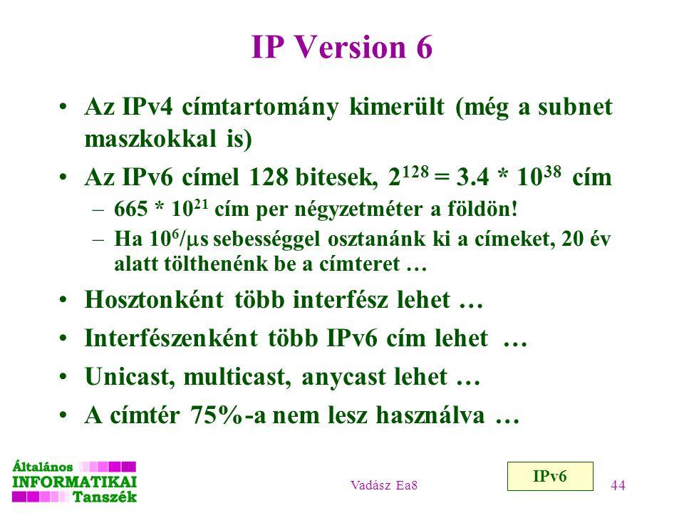 Vadász Ea8 44 IP Version 6 Az IPv4 címtartomány kimerült (még a subnet maszkokkal is) Az IPv6 címel 128 bitesek, 2 128 = 3.4 * 10 38 cím –665 * 10 21